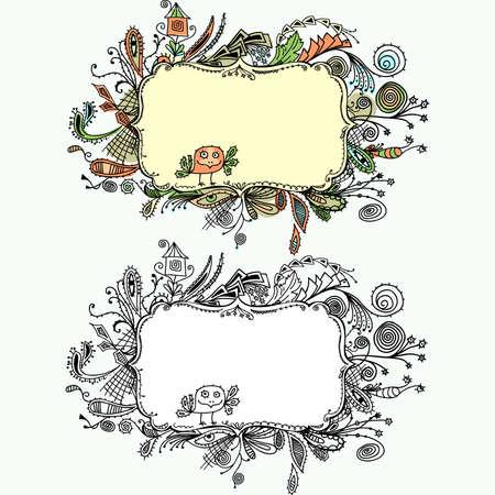 cute text box: Ornamental border hand draw