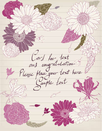 Vintage postcard with flowers and lettering Stock Vector - 16592452