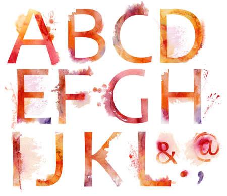 水彩画のアルファベット