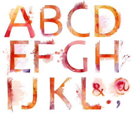 graffiti alphabet: Aquarell Alphabet Lizenzfreie Bilder