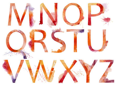 czcionki: Alfabet akwarela