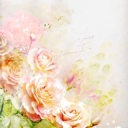 Fondo de la acuarela floral Foto de archivo - 60321918