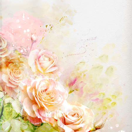 Watercolor floral background Stock Photo