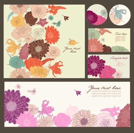 poem: Floral background set