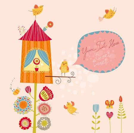 Funny bird nests Vector