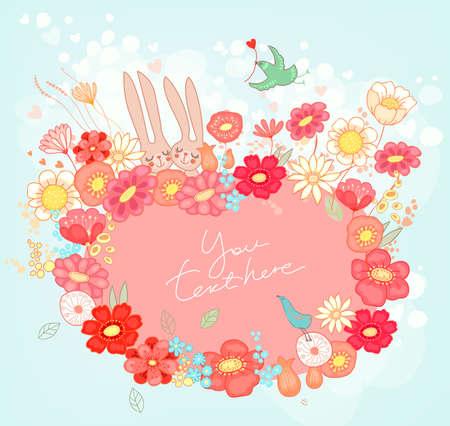 うさぎと花の背景