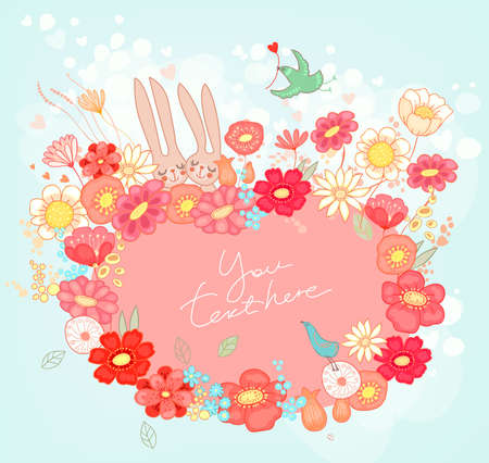 Floral background with bunnies Illustration