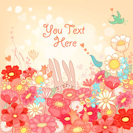 Floral background with bunnies Stock Vector - 17475618