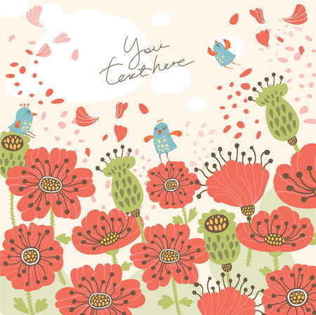 Poppy background with birds Stock Vector - 17580201