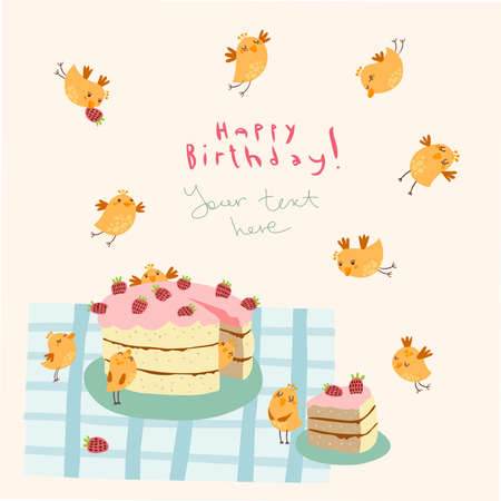 Greeting card with funny birds Illustration