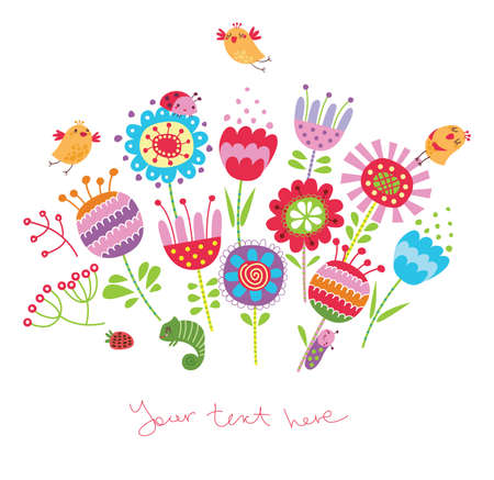 baby animals: Card with flowers and birds