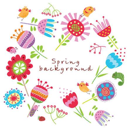 花や鳥とカード  イラスト・ベクター素材