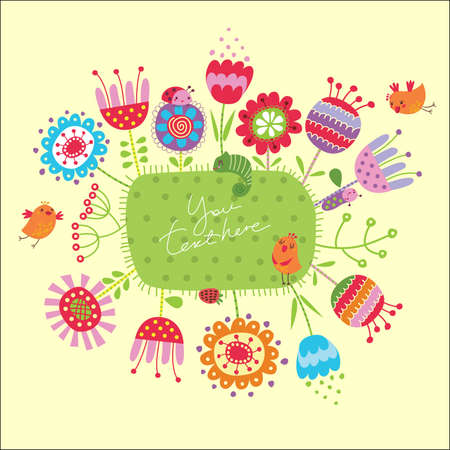 Card with flowers and birds Vector