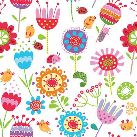 vintage bird: Floral seamless pattern