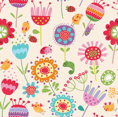 young bird: Floral seamless pattern