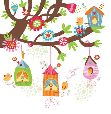Fondo floral con aves Ilustración de vector