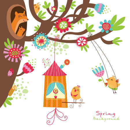 squirrels: Floral background with birds Illustration
