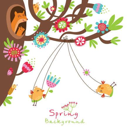 uccelli su ramo: Floral background con gli uccelli