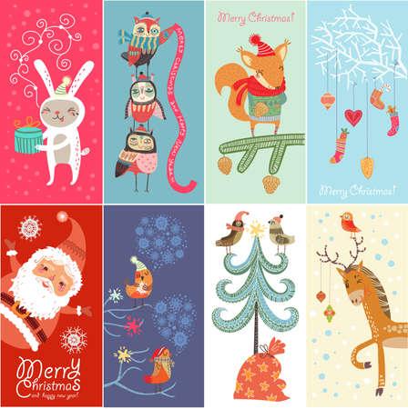 toy sack: Conjunto de tarjeta de Navidad Vectores