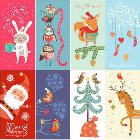 Set Weihnachtskarte Standard-Bild - 23103821