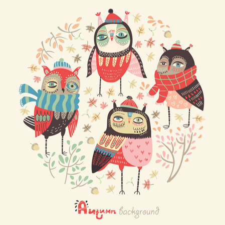 Autumn background with funny owls  Illustration