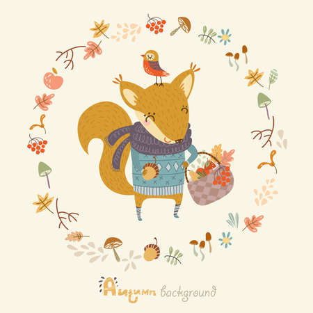 fall in love: Autumn background with funny squirrel Illustration