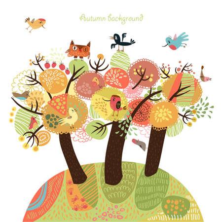 Herbst Hintergrund mit Vögeln Standard-Bild - 23103828