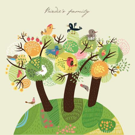 Background with birds  Illustration
