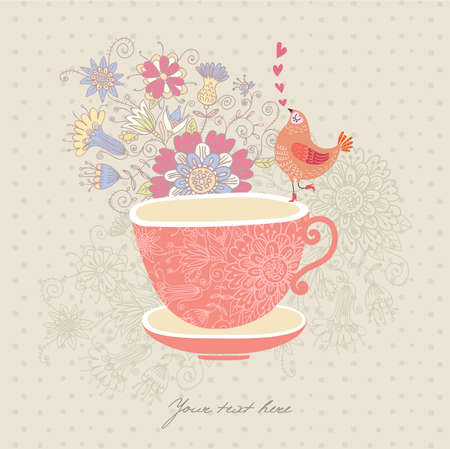 Greeting card with a cup,flowers and a bird Vector