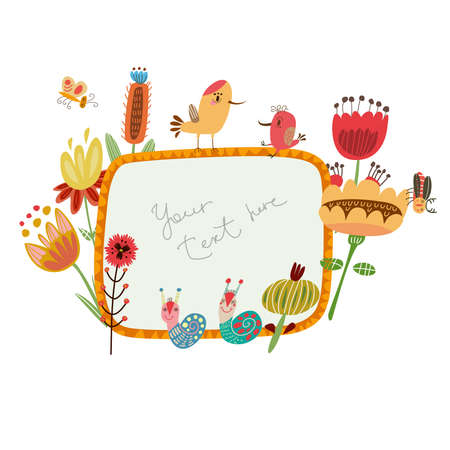 Frame for congratulations with cute characters  Vector