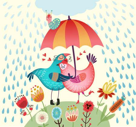 Autumn card with birds