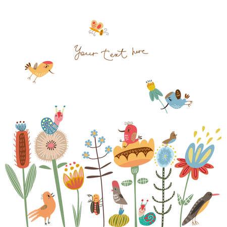 Card with cute characters Фото со стока - 23103843