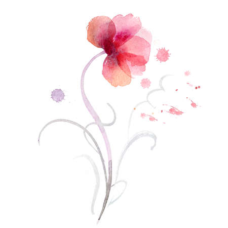 transparent brush: Beautiful watercolor flowers Stock Photo