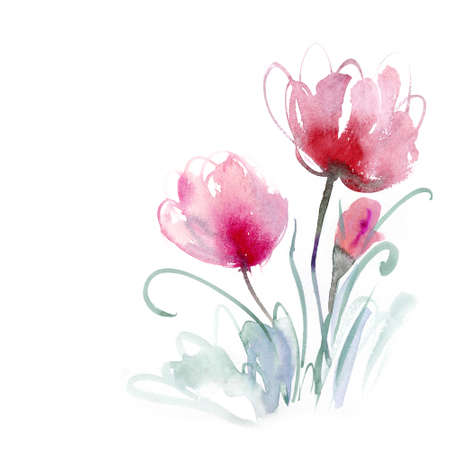 flower print: Beautiful watercolor flowers Stock Photo