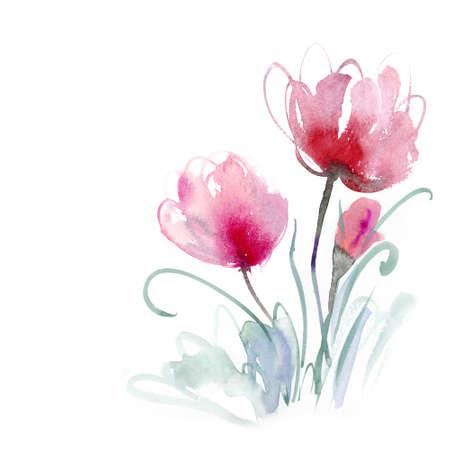 splatter: Hermosas flores de acuarela Foto de archivo