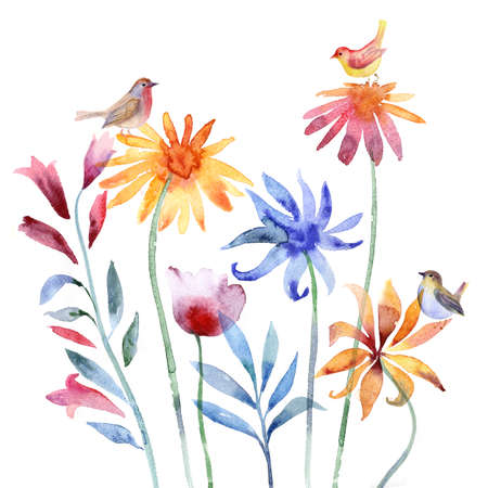 schmetterlinge blau wasserfarbe: Schöne Aquarell Blumen