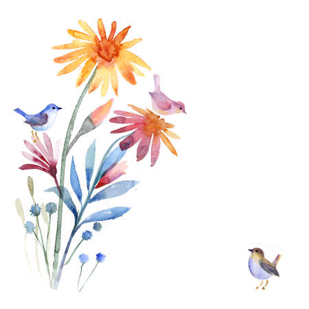 Beautiful watercolor flowers Banco de Imagens