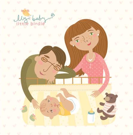 幸せな家族  イラスト・ベクター素材