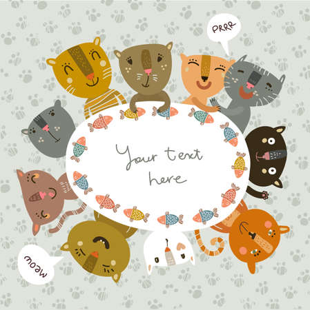 Funny background with funny kitties Vector