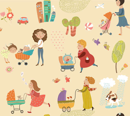babysitter: Cute pattern with mothers and children