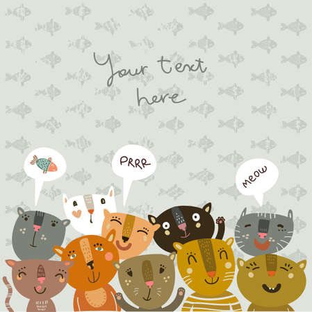 Funny background with funny kitties