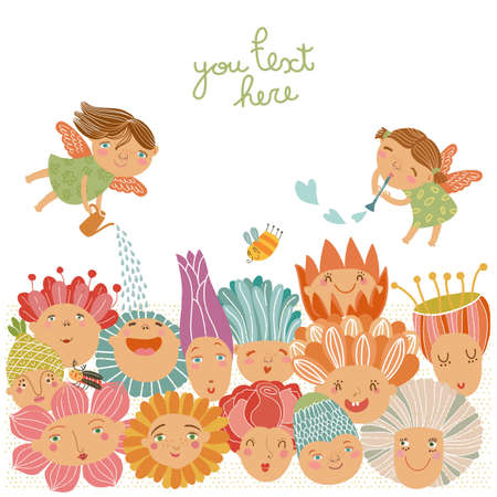 Floral with fairies Vector