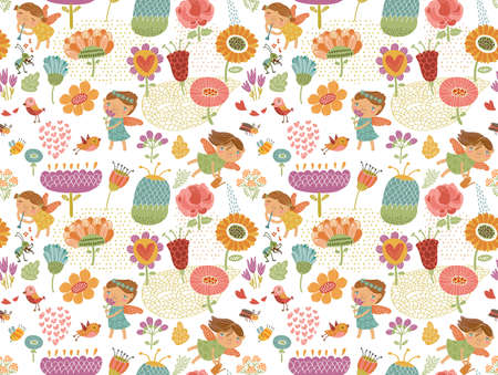 Floral background with fairies