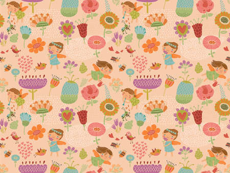 Floral background with fairies Vector