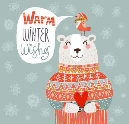 暖かい冬のベクトルでカードを願い