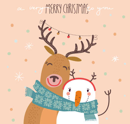 decorative card symbols: Funny Merry Christmas card