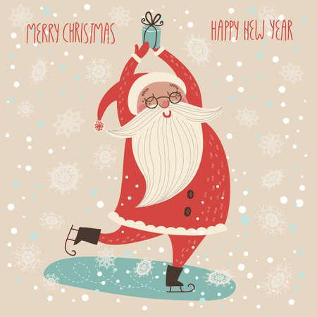 ベクトルのメリー クリスマス カード。かわいい面白いサンタ クロース