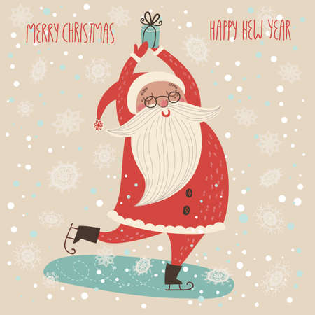 Merry Christmas card in vector.Cute funny Santa Claus Çizim