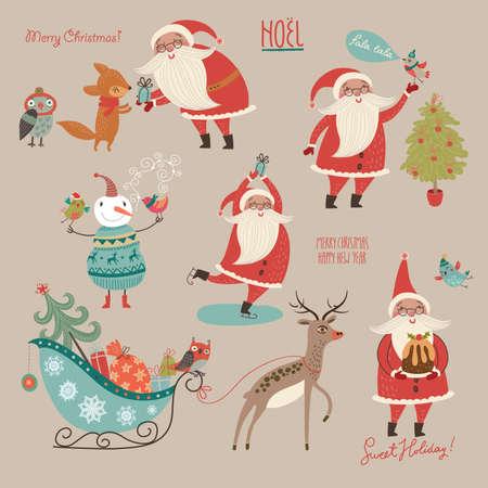 スタイリッシュな新年とクリスマス ベクトルで設定します。