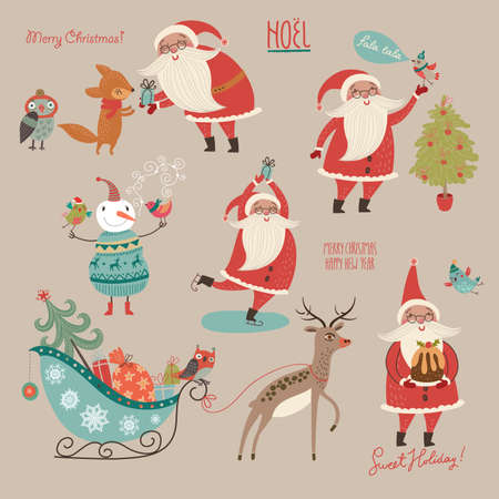 Stylish New Year and Christmas set in vector. Illustration